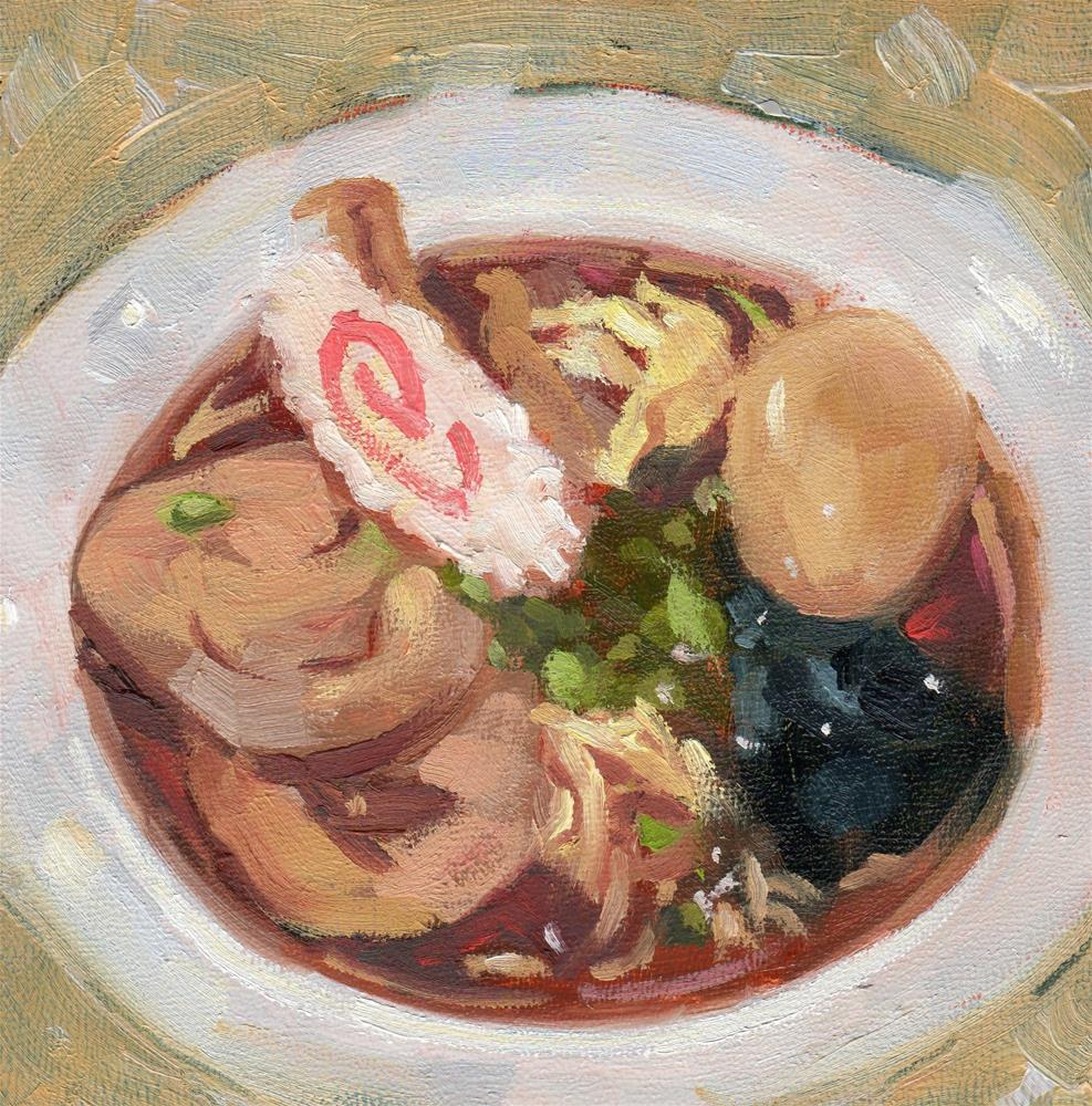 """Shoyu Ramen Noodles Soup"" original fine art by Marlene Lee"