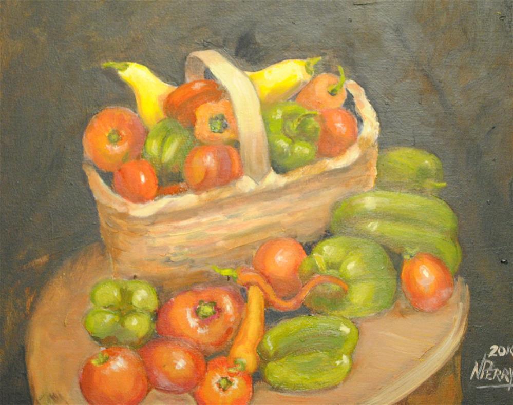 """Basket of Veggies "" original fine art by Nan Perry"