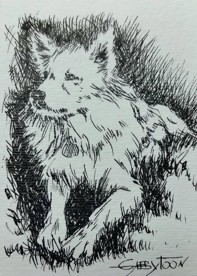 """A Dog (ACEO)"" original fine art by Gabriella DeLamater"