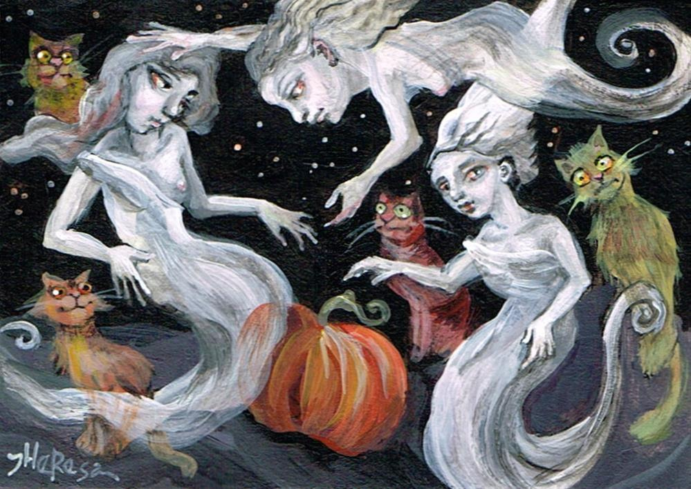 """3 Ghosts, 4 Cats, and a Pumpkin"" original fine art by Theresa Taylor Bayer"
