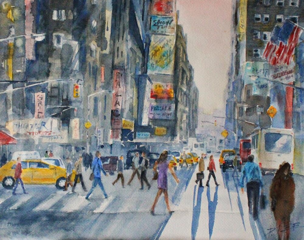 """Dusk at Times Square"" original fine art by Peter Lee"