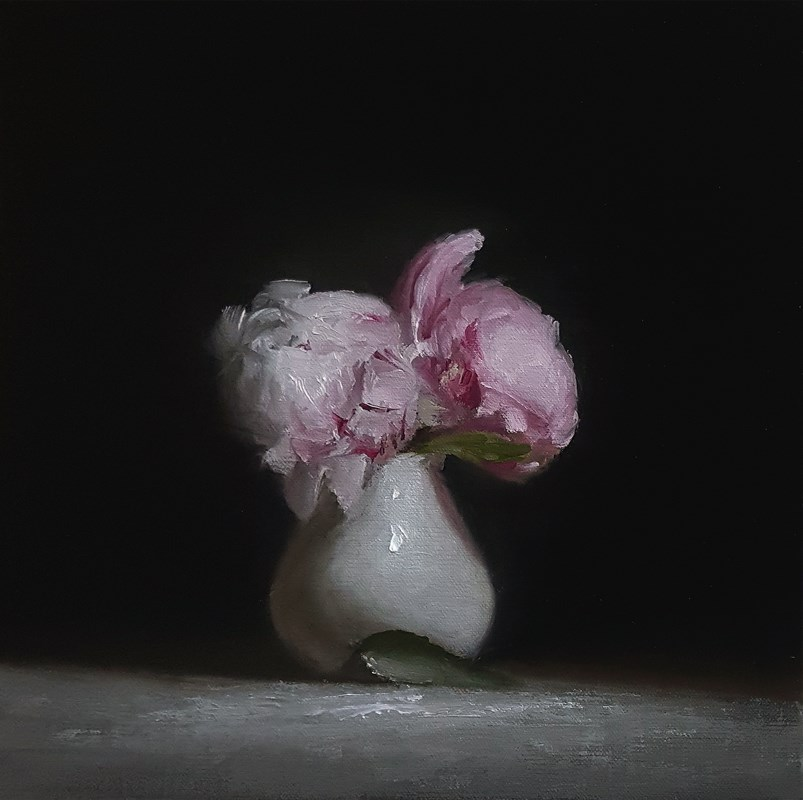"""Cup of Peonies"" original fine art by Neil Carroll"