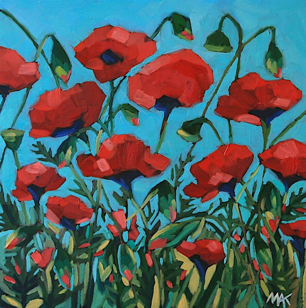 """""""Poppies in the Garden"""" original fine art by Mary Anne Cary"""