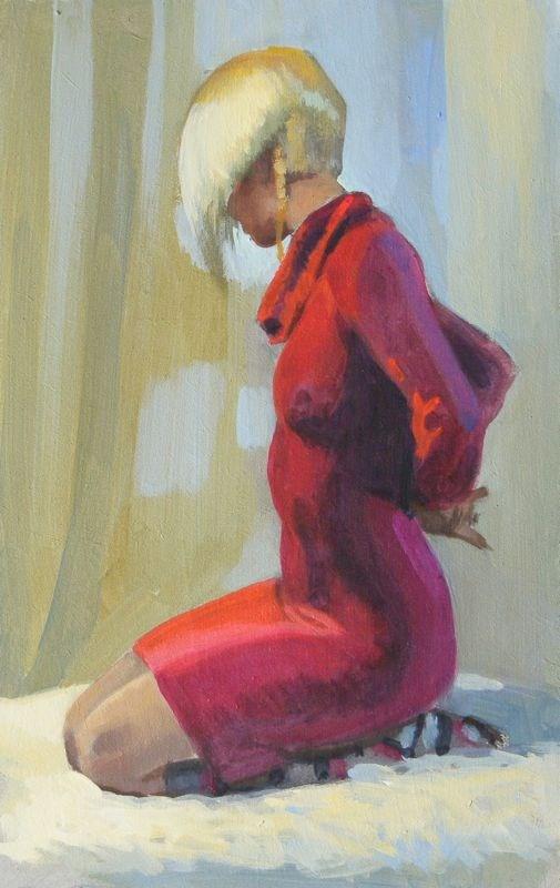 """Kneeling Red Dress"" original fine art by Peter Orrock"