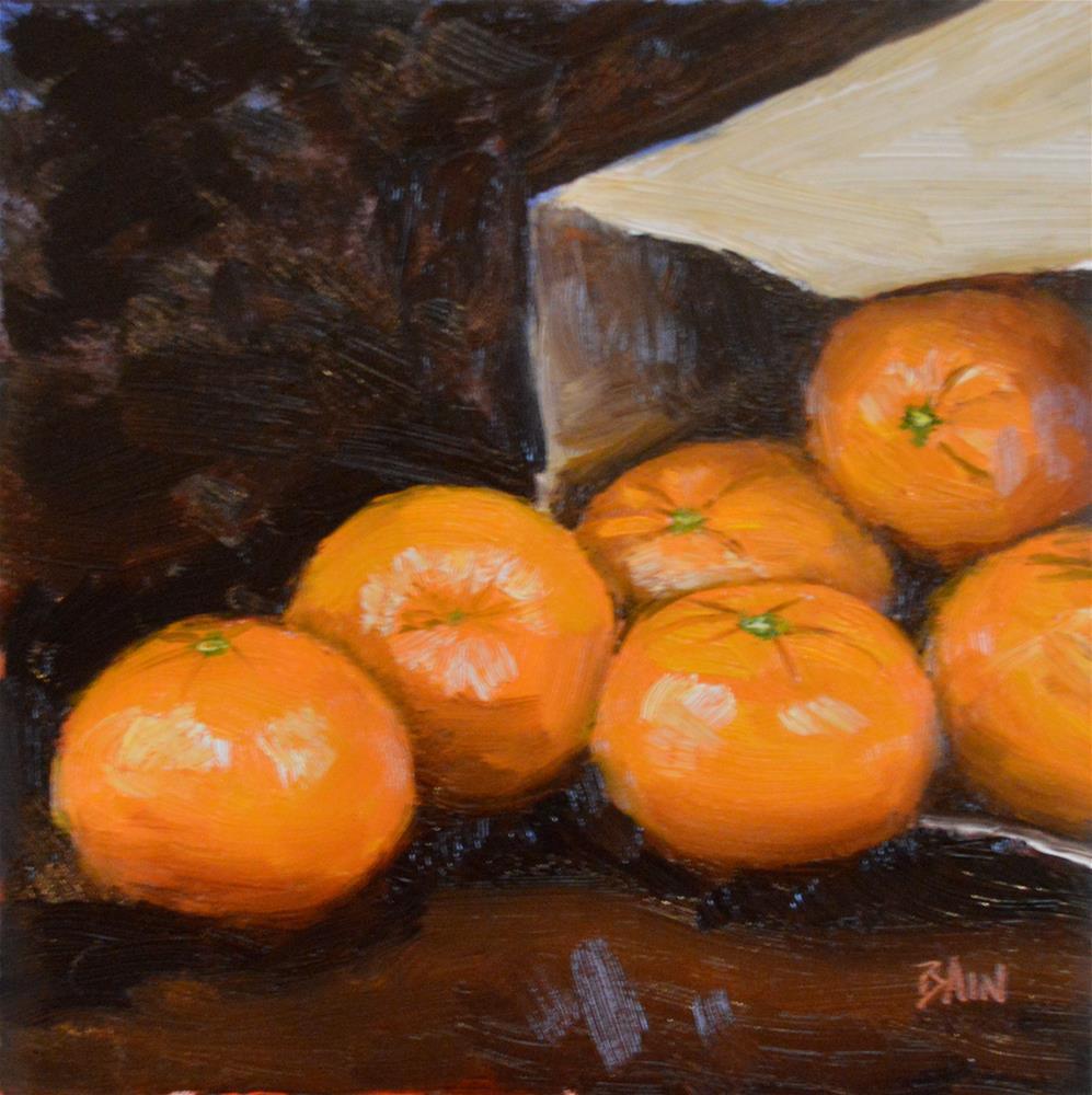 """Clementines, Paper Bag"" original fine art by Peter Bain"