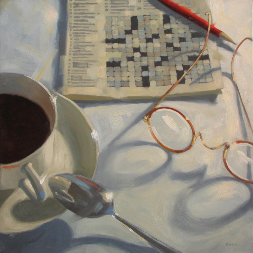 """4 down, Vessel for liquid  18 x 18 x 1.5   oil on wood panel"" original fine art by Claudia Hammer"