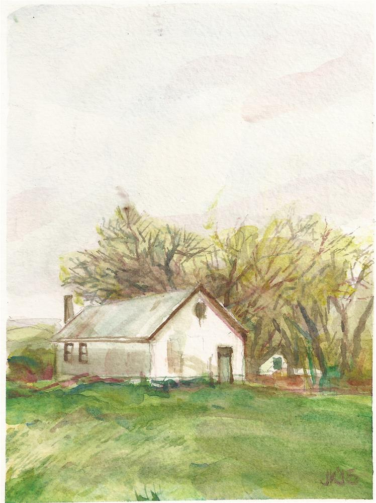 """Masonic Temple, Chugwater, WY"" original fine art by Jean Krueger"