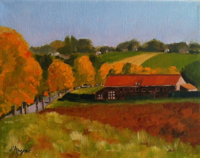 """Red Farm House"" original fine art by Karen D'angeac Mihm"