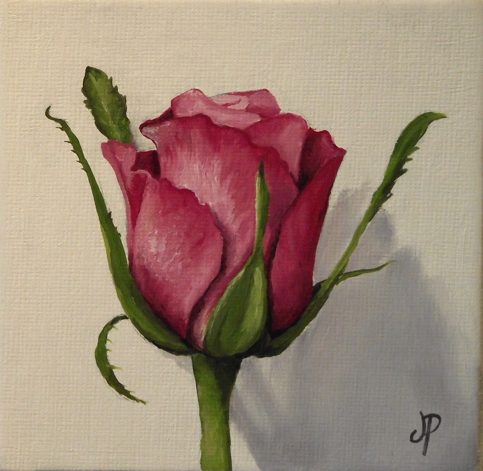 """""""Rose Bud and a clementine"""" original fine art by Jane Palmer"""