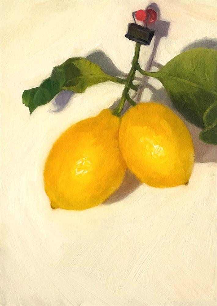 """Hanging Lemons 1"" original fine art by Jana Bouc"