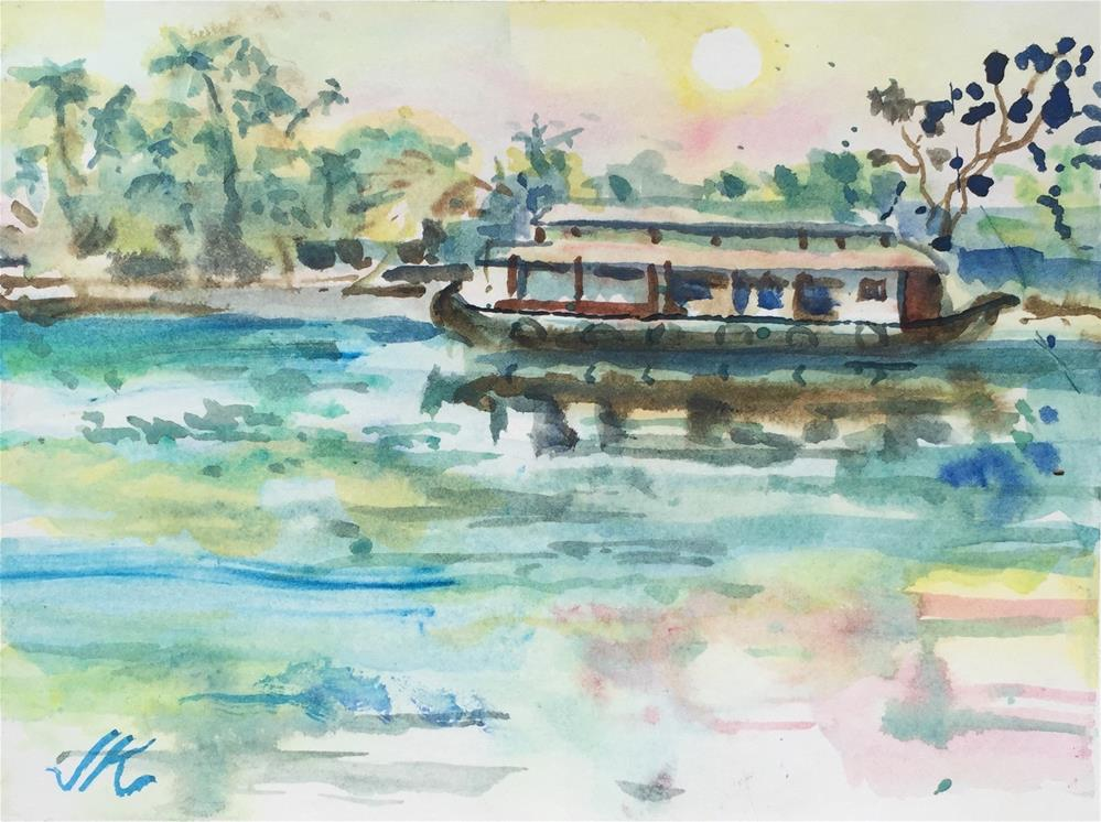 """River Boat"" original fine art by Jean Krueger"