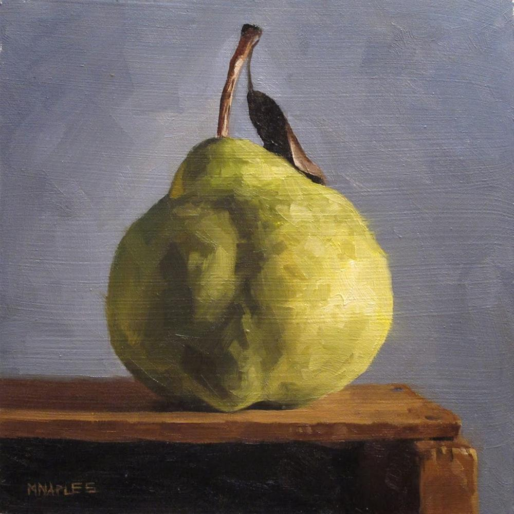 """Pear on Shelf No. 1"" original fine art by Michael Naples"
