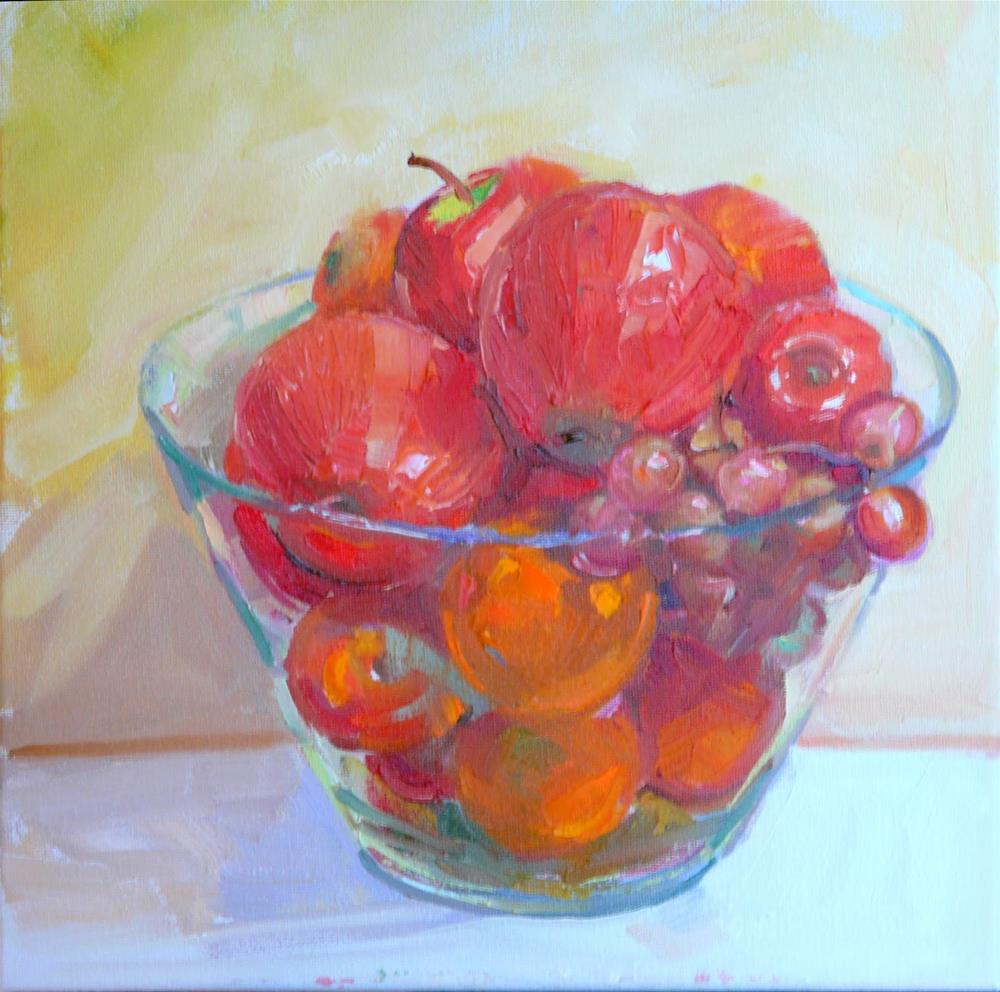 """Fruit Bowl,still life,oil on canvas,12x12,price$200"" original fine art by Joy Olney"