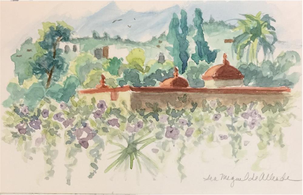 """""""San Miguel Rooftop Terrace"""" original fine art by Nancy Parsons"""