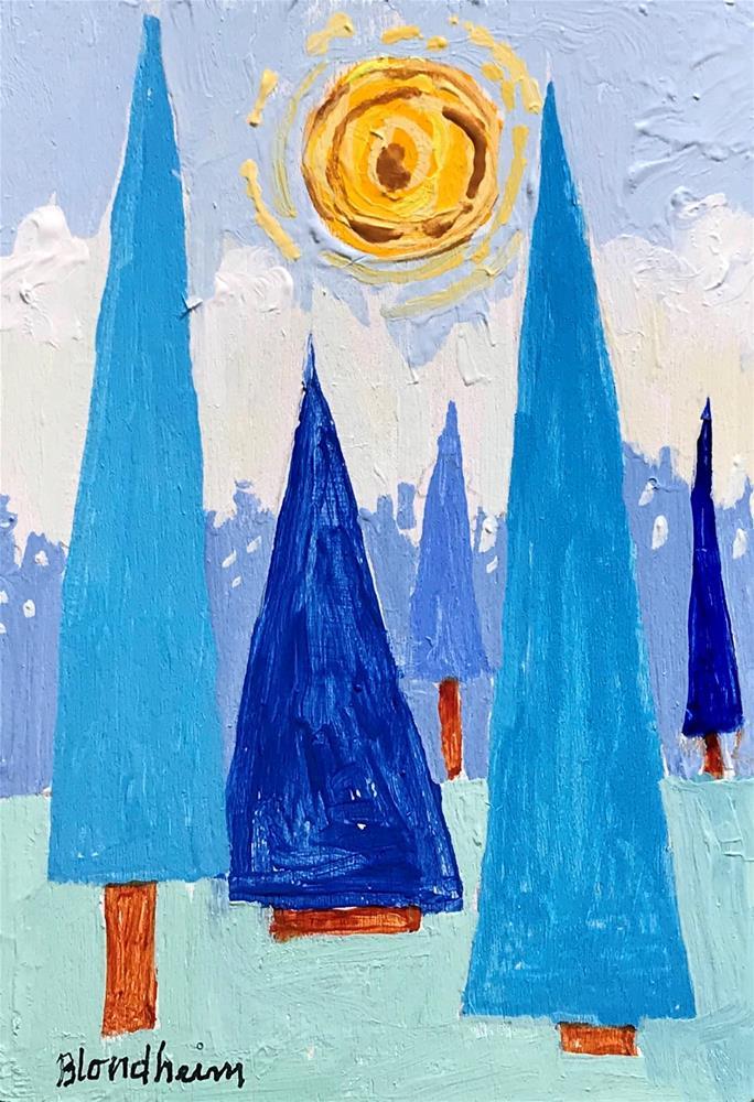 """Tree Toons Blue Forest"" original fine art by Linda Blondheim"