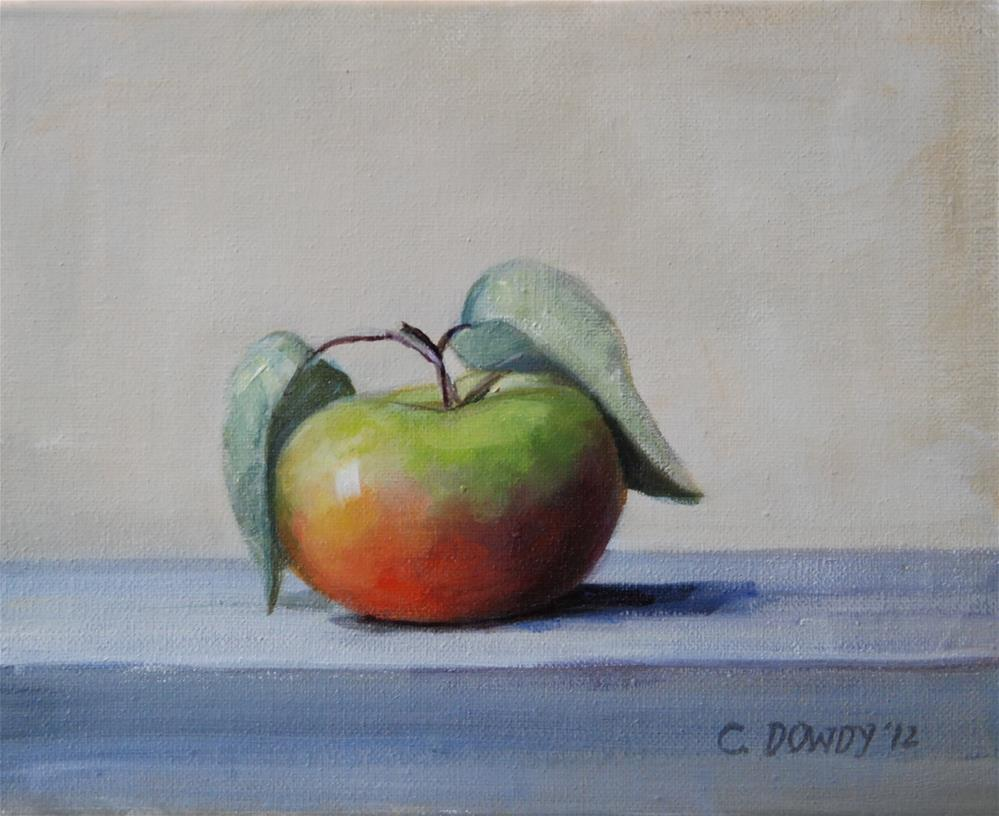 """""""Lady Apple with Leaves"""" original fine art by Christina Dowdy"""