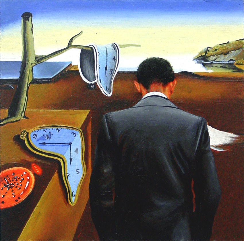 """""""Persistence Of Memory- Painting Of Barack Obama Looking At Painting By Salvador Dali"""" original fine art by Gerard Boersma"""