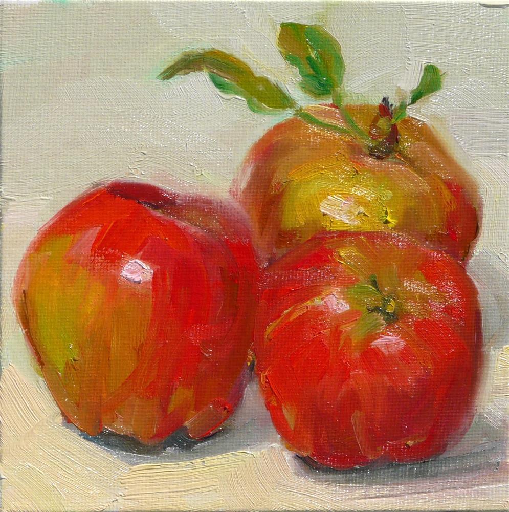 """Just Picked Apples,still life,oil on canvas,6x6,price$250"" original fine art by Joy Olney"