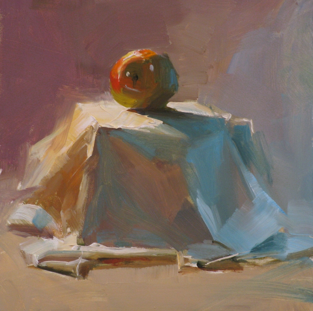 """""""Apple on Stage"""" original fine art by Qiang Huang"""