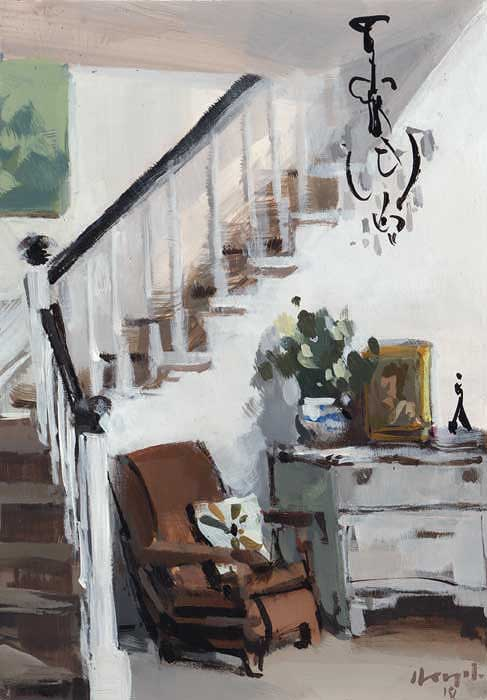 """Stairwell with Lounge Chair"" original fine art by David Lloyd"