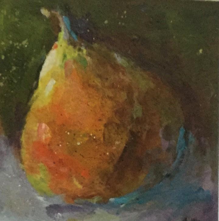 """Acrylic pear still life painting kitchen art fruit"" original fine art by Alice Harpel"