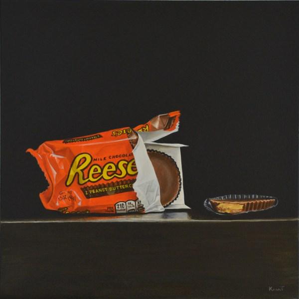 """Reese's Peanut Butter Cups, Center Stage Please"" original fine art by Kim Testone"