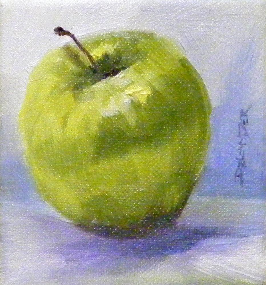 """Green Apple"" original fine art by Diana Delander"