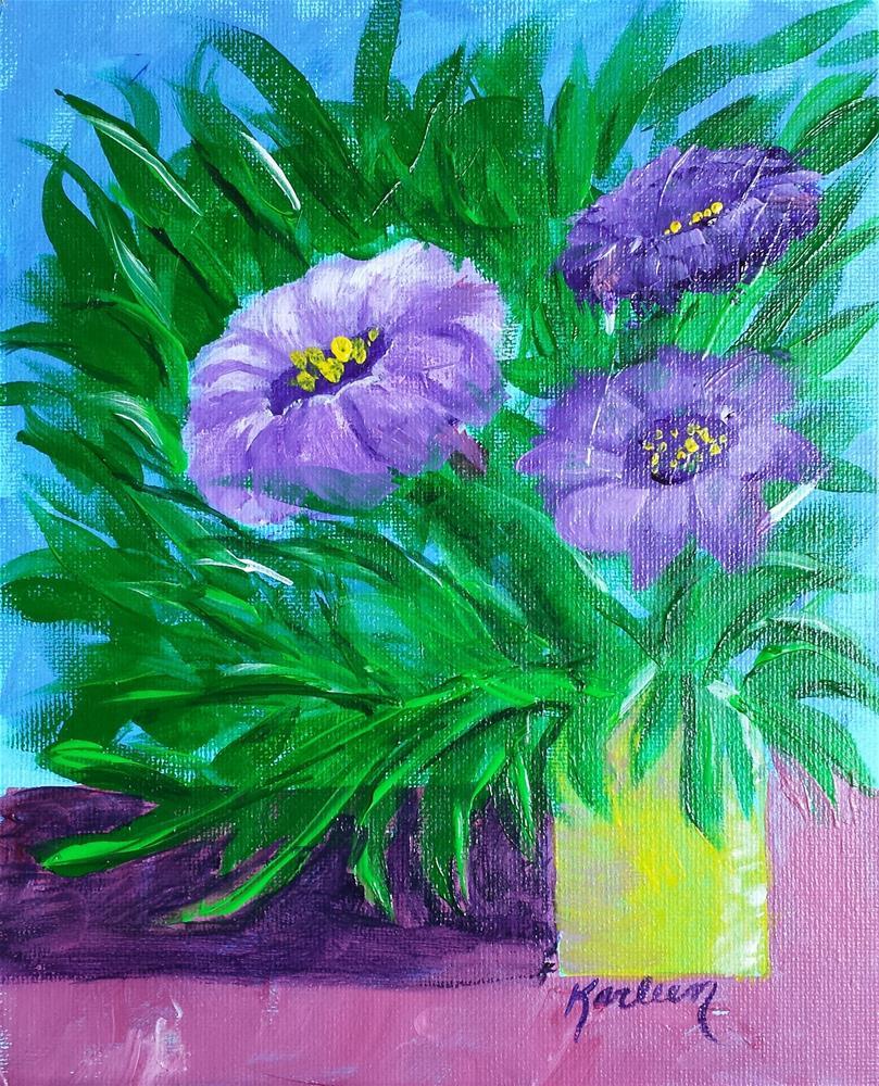 """Purple Bouquet"" original fine art by Karleen Kareem"
