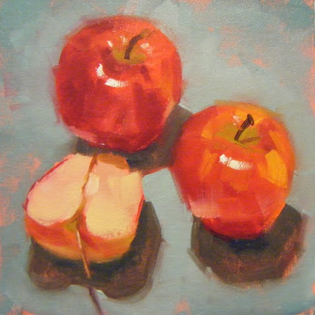 """APPLE ATTACKED"" original fine art by Helen Cooper"