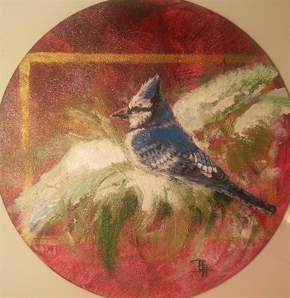 """Christmas Bluejay"" original fine art by Phyllisha Hamrick"