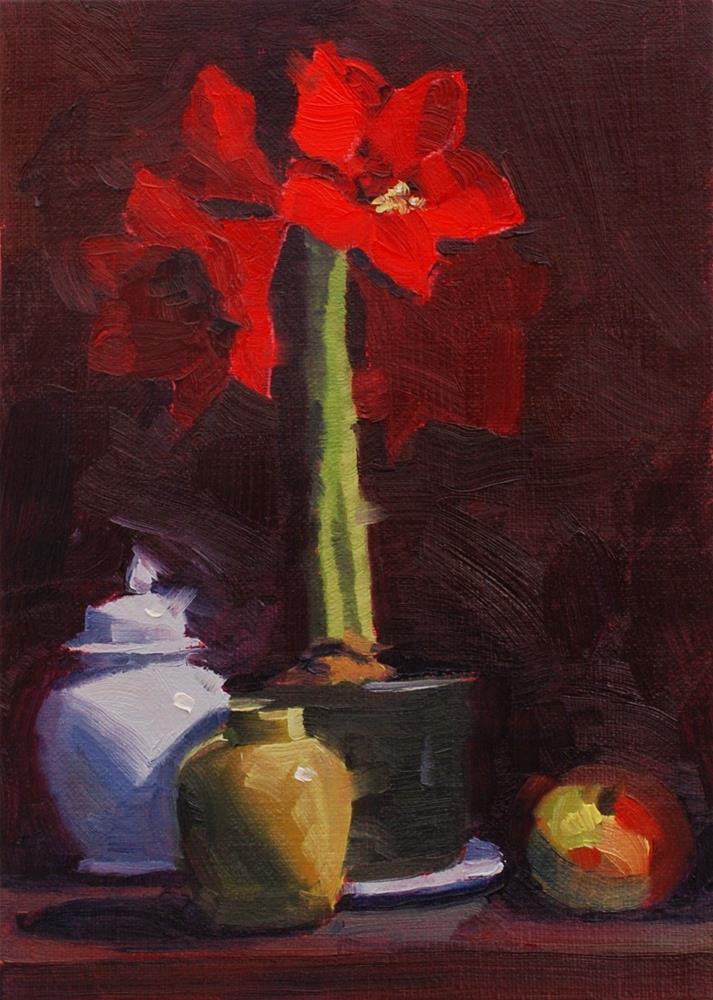 """""""The Amaryllis Experiment #3"""" original fine art by Susan McManamen"""
