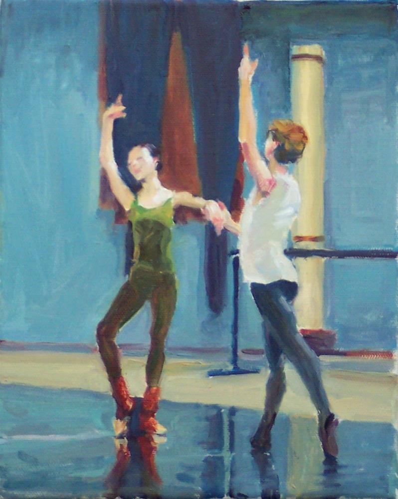 """""""Another Practise,figures,oil on canvas,10x8,price$795"""" original fine art by Joy Olney"""