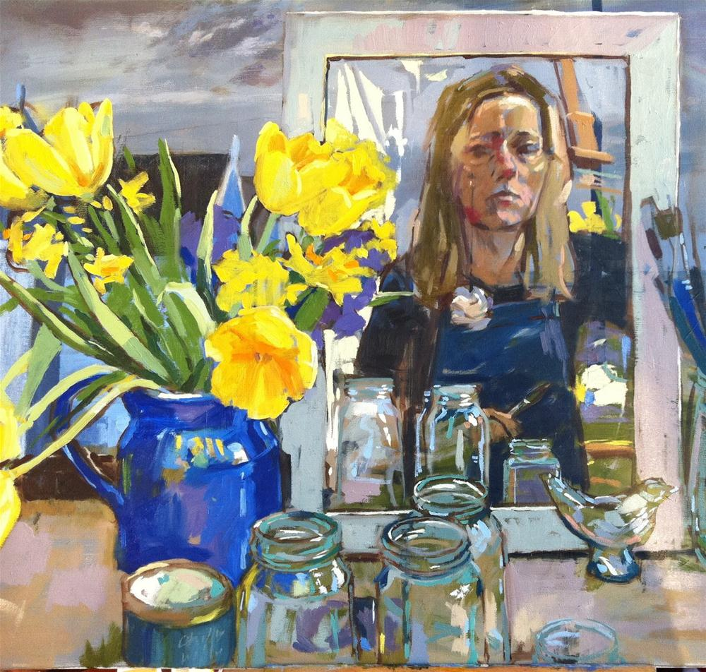 """""""self with tulips"""" original fine art by Haidee-Jo Summers ROI"""