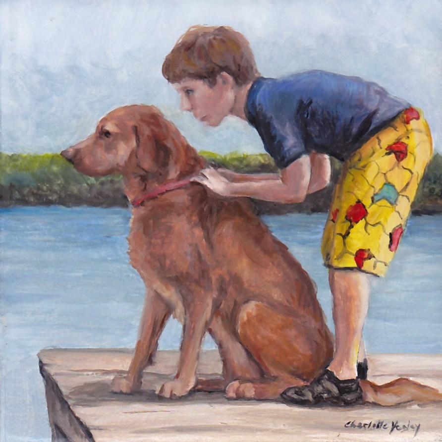 """Dock Dog"" original fine art by Charlotte Yealey"