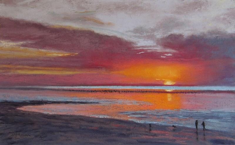 """""""Sunset at Heacham"""" original fine art by Ruth Mann"""
