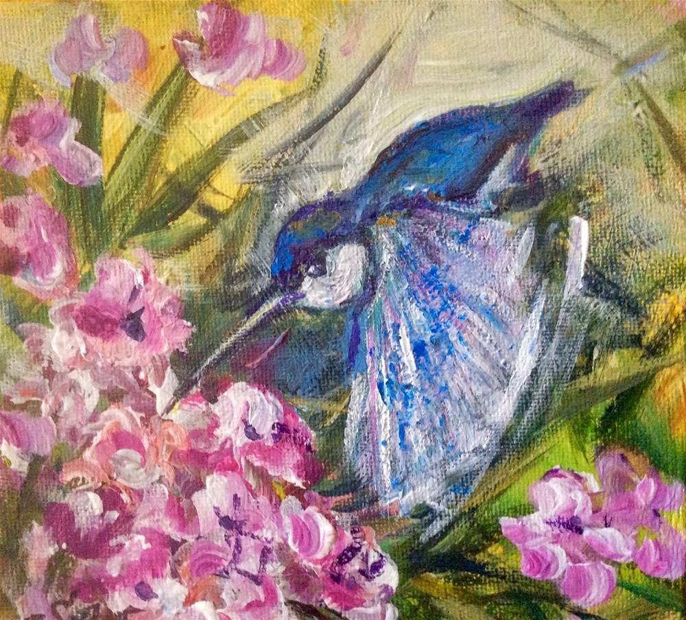 """Hummingbird and oleander"" original fine art by Sonia von Walter"
