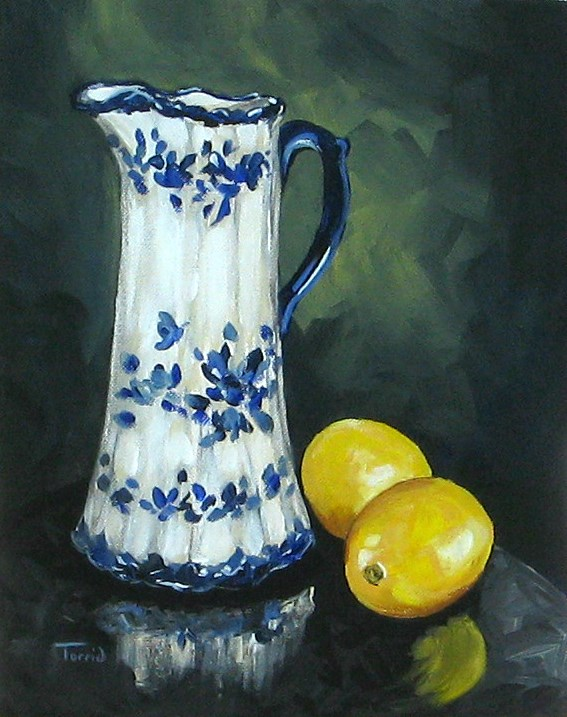 """Flow Blue and Lemons"" original fine art by Torrie Smiley"