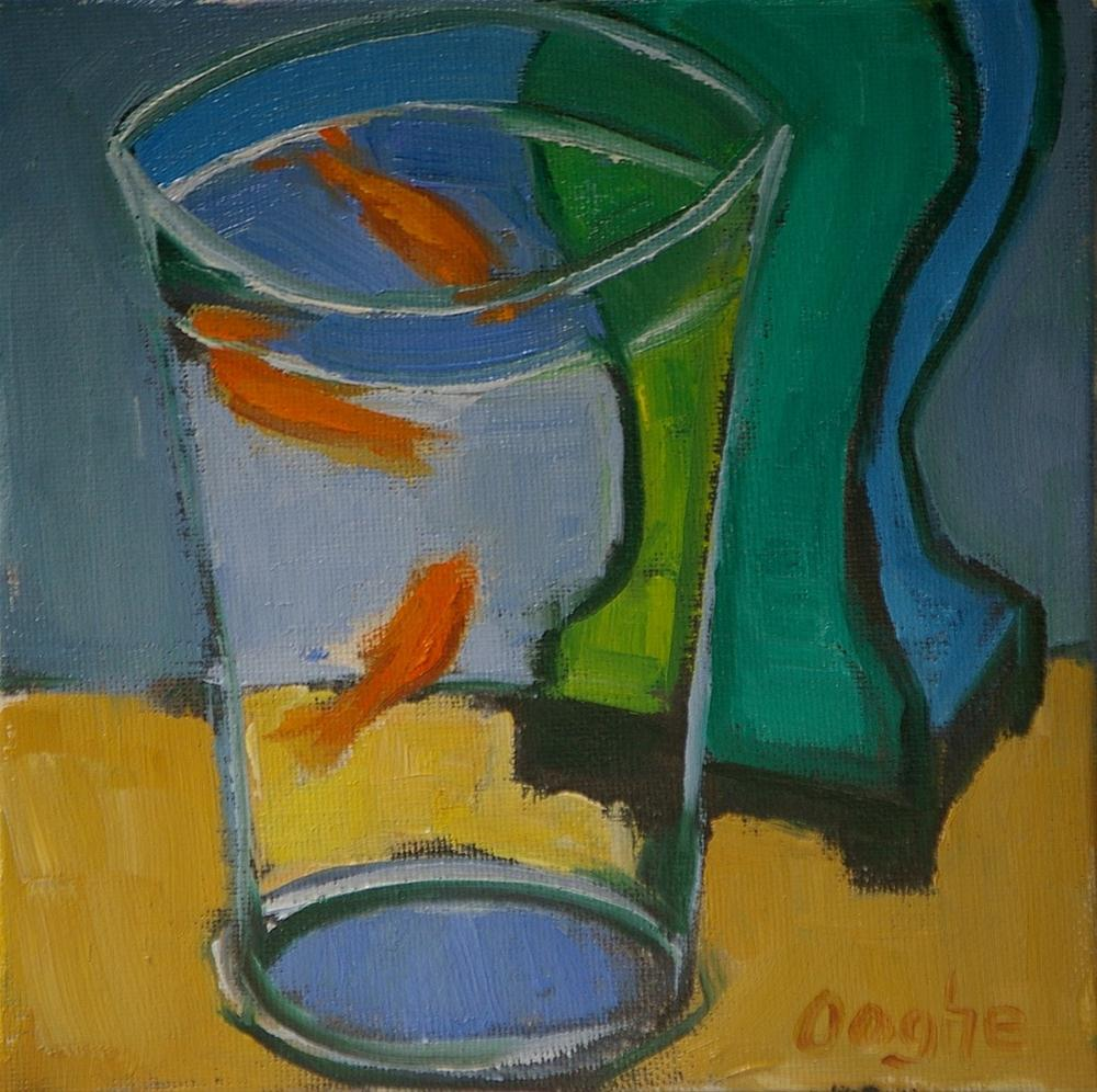 """""""Goldfish and Green Lamp"""" original fine art by Angela Ooghe"""