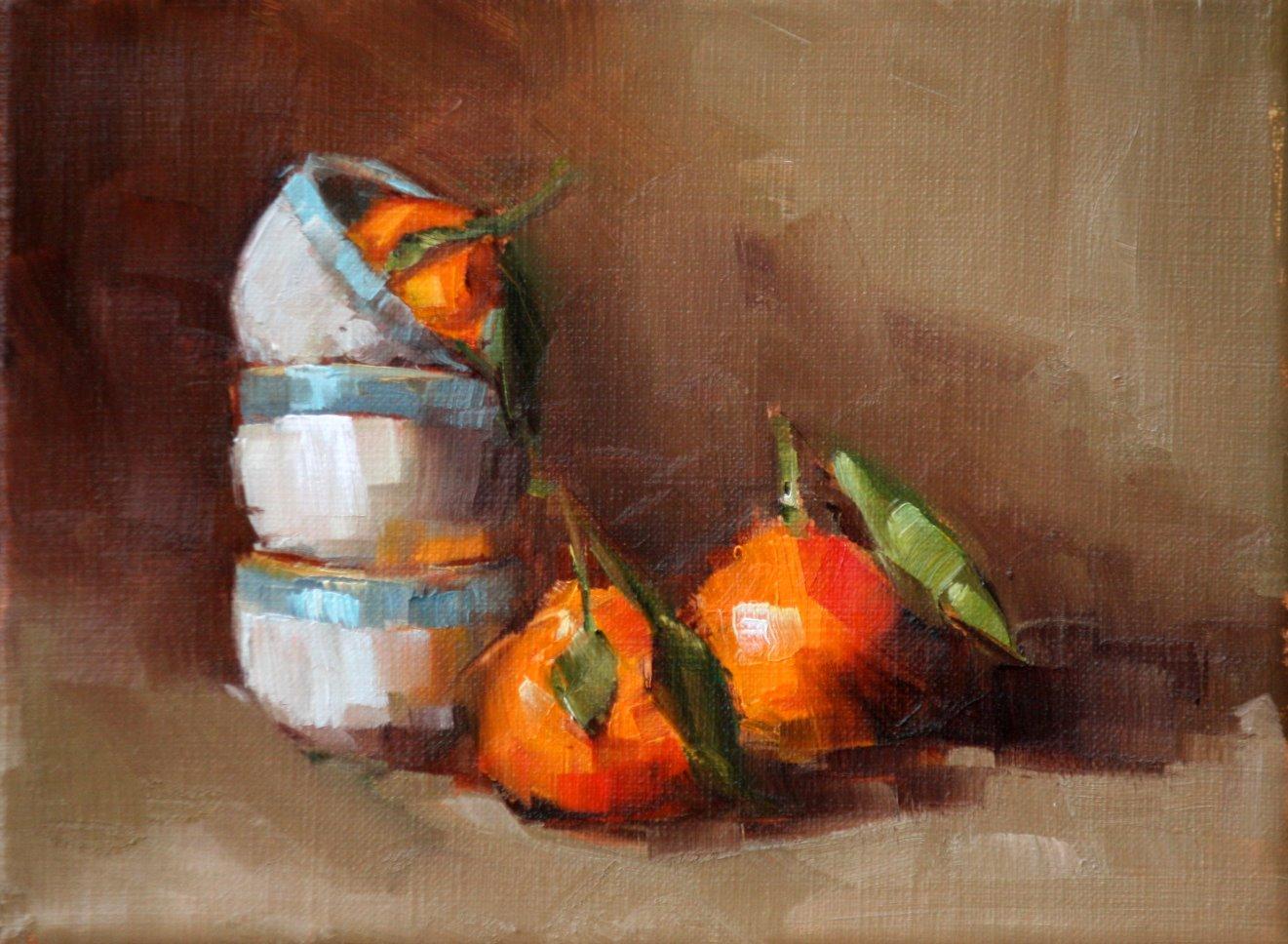 """orange and blue"" original fine art by Carol Carmichael"