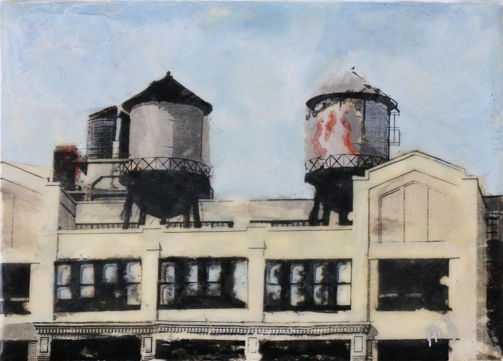 """Water Towers on 24th Street (then)"" original fine art by Heather Douglas"