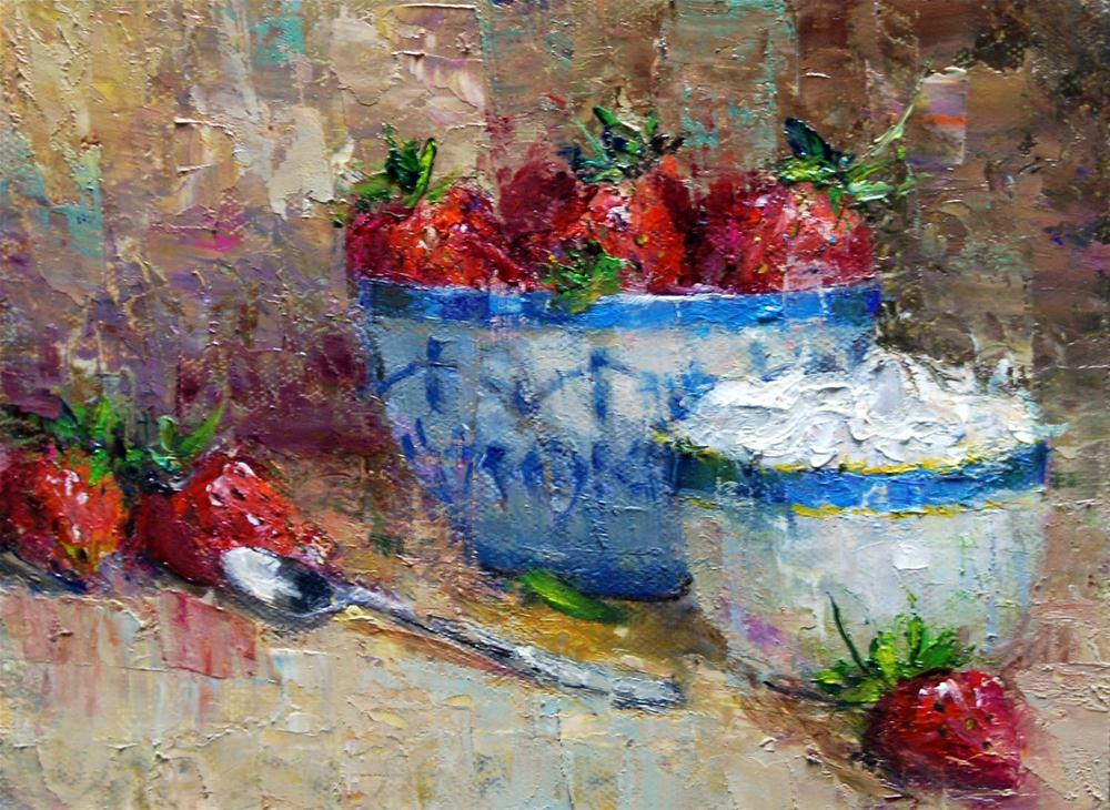 """""""Strawberries and Cream"""" original fine art by Julie Ford Oliver"""