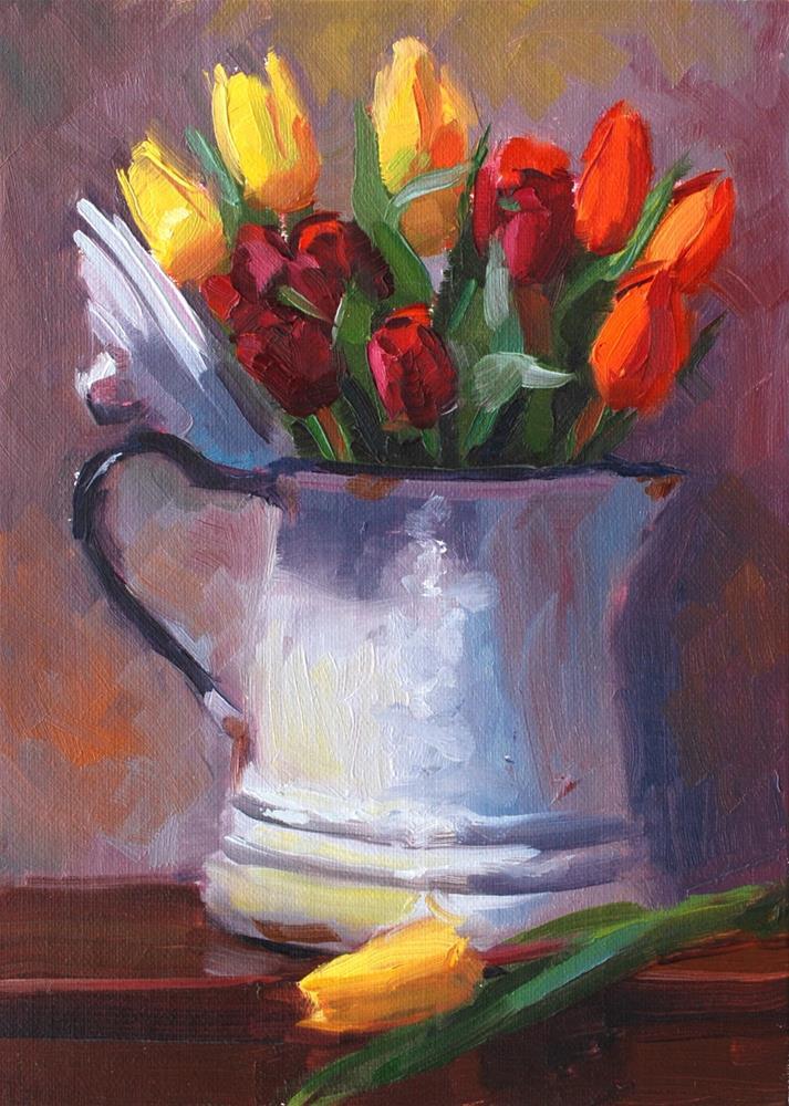 """""""No. 704 Tulips with Coffee"""" original fine art by Susan McManamen"""