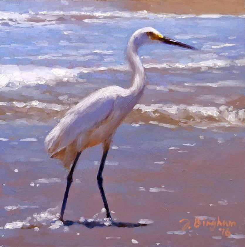 """Snowy Egret -2"" original fine art by Joanna Bingham"