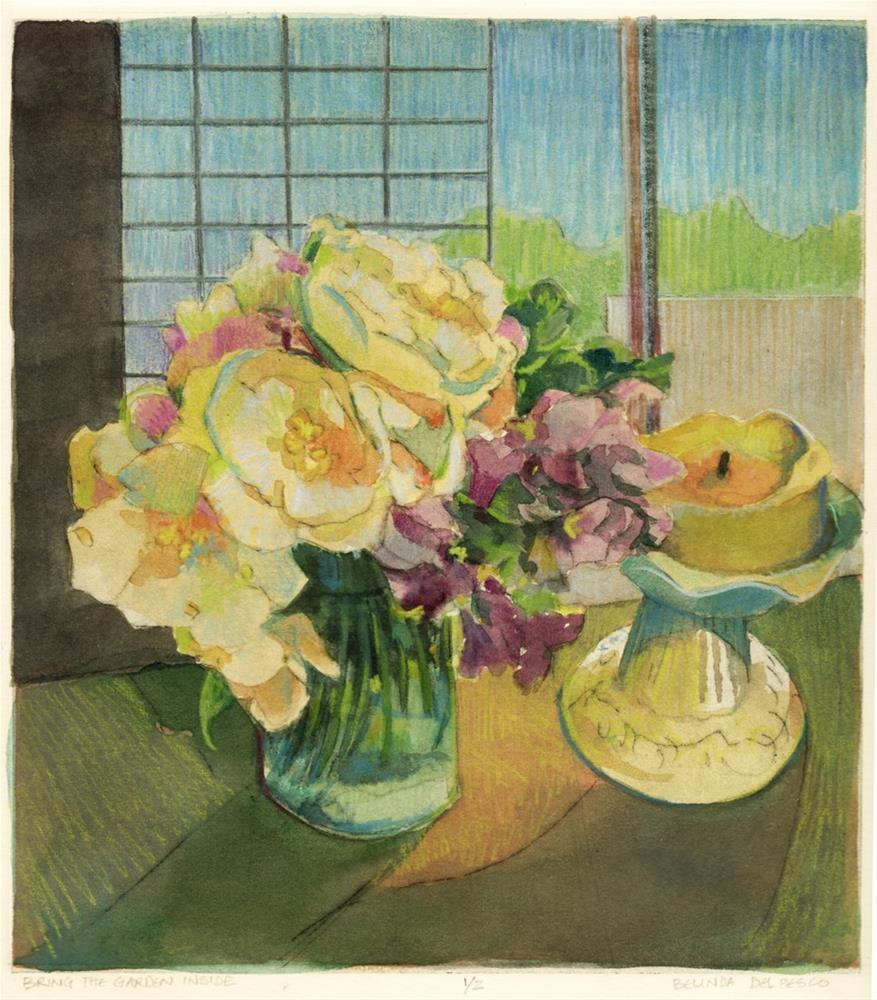 """Drypoint: Bring the Garden Inside"" original fine art by Belinda Del Pesco"