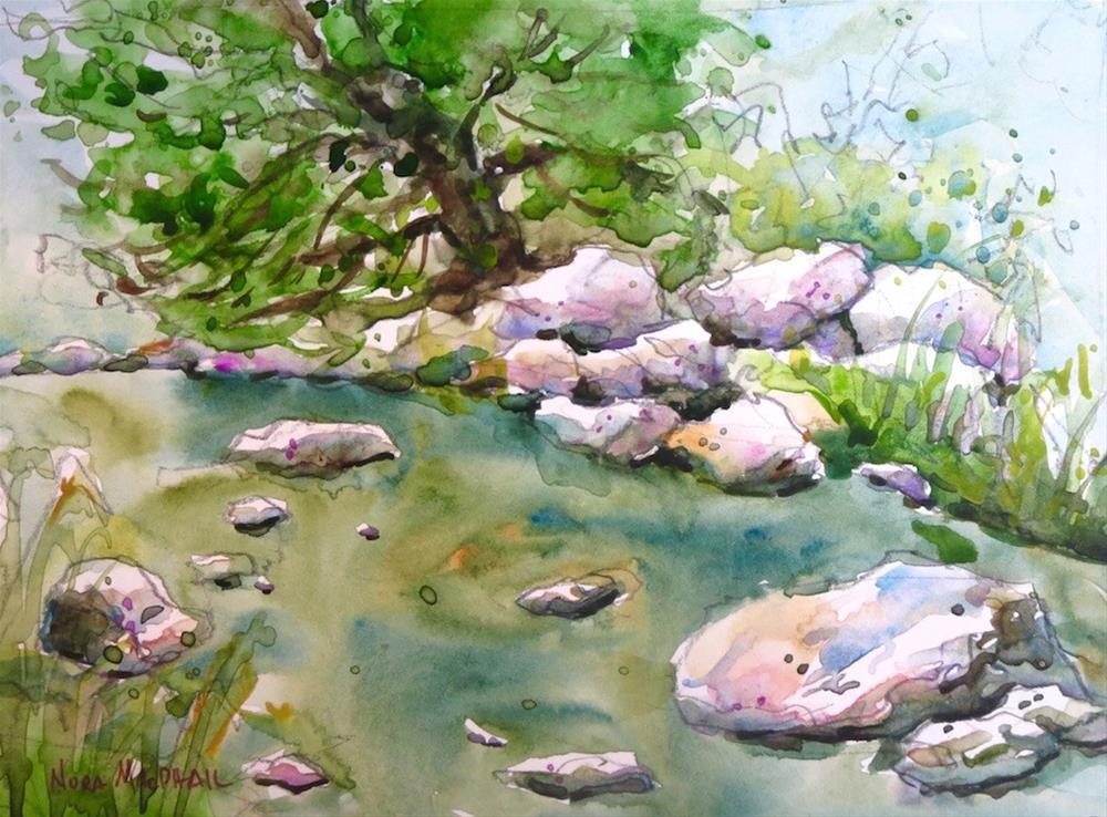 """rocky stream"" original fine art by Nora MacPhail"