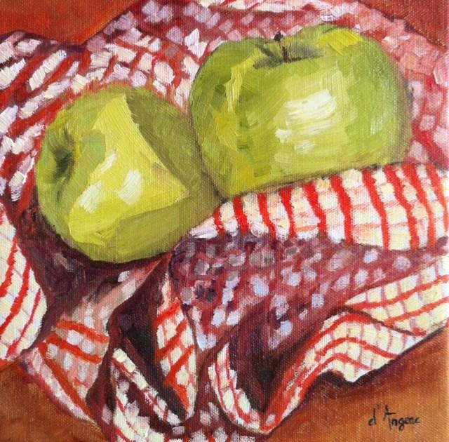 """""""Two Green Apples"""" original fine art by Karen D'angeac Mihm"""