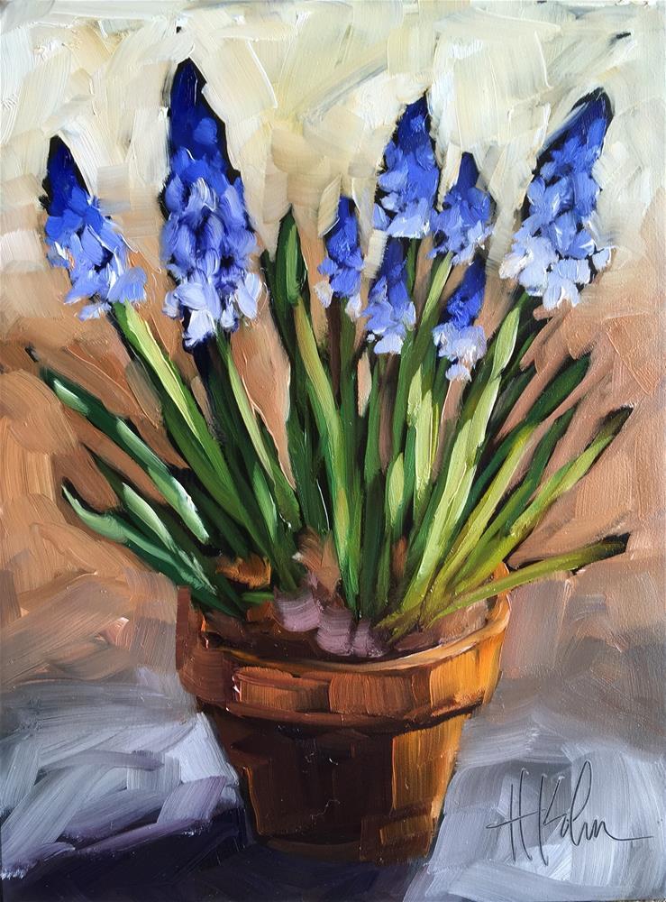 """Grape Hyacinth Bulbs"" original fine art by Hallie Kohn"