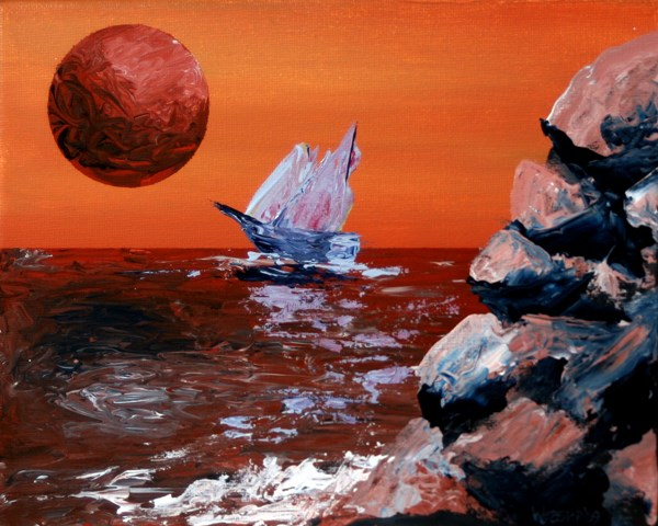 """Mark Webster - Sailing off the Edge of Planet X - Abstract Acrylic Painting"" original fine art by Mark Webster"