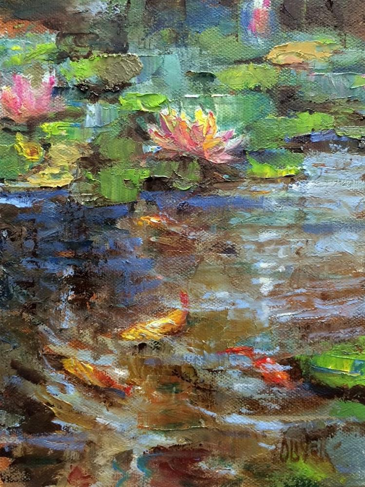 """""""Koi Fish and Lilies"""" original fine art by Julie Ford Oliver"""