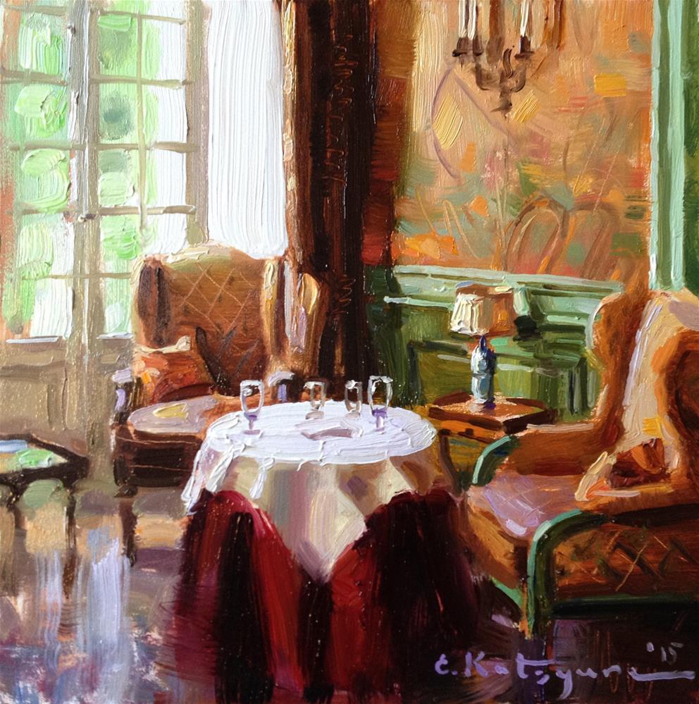 """The Red Velvet Tablecloth"" original fine art by Elena Katsyura"